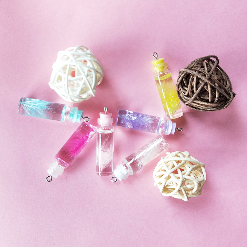 10PCS 11 44mm Reed Resin Bottle Charms Lucky Transparent Bottle Pendants Grass Finding Fit Earring Jewelry Making Material YZ554 in Charms from Jewelry Accessories