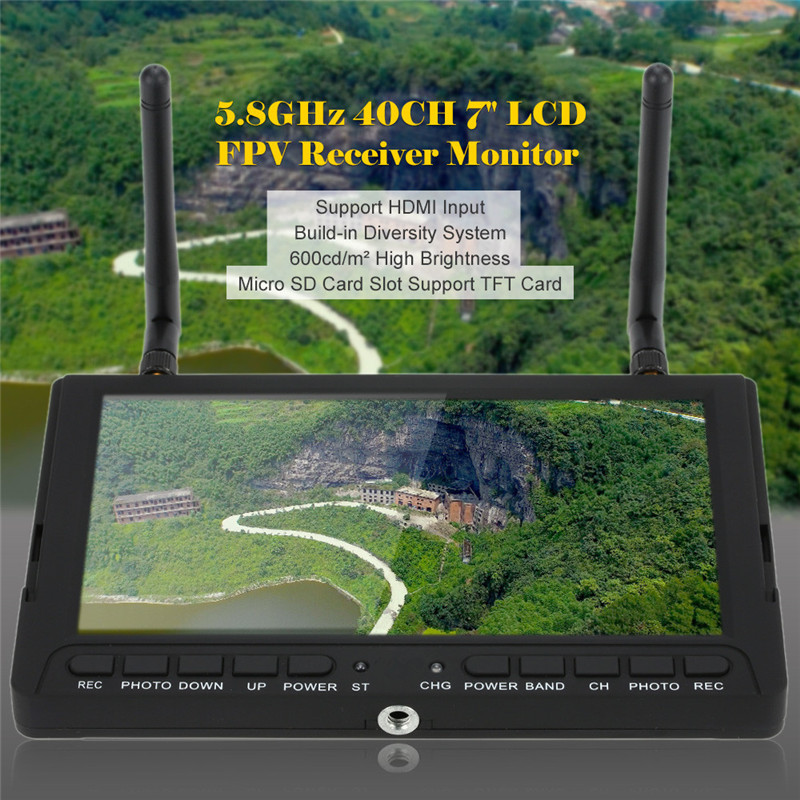 Sky-708 5.8GHz 40CH 7inch HD LCD Screen FPV Receiver Video Display Support HDMI Input and TF Card Diversity RX DVR PPM Function fpvok fpv 5 8 ghz 40ch rd40 raceband dual diversity receiver with a v and power cables