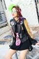 Melinda Estilo 2016 nueva moda de las mujeres chaqueta de abrigo de cuero chaqueta de cuero de LA PU patrón de impresión remaches decorado de forma envío gratis