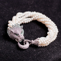 FREE SHIPPING>>>@@ nice design 4 5mm natural freshwater pearl with charming zircon leopard head 21.5cm bracelet