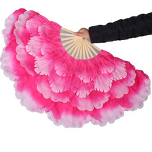 FEECOLOR 2pcs / lot Belly Dance hand held fans 50cm flower Layered handfan stage performance shower Modern dancing accessories
