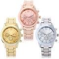 1 unids Confianza 3 Colores Reloj de Cuarzo Hombres Mujeres Faux Chronograph Plateado Relogio Del Reloj de Metal Ginebra Relojes para hombres