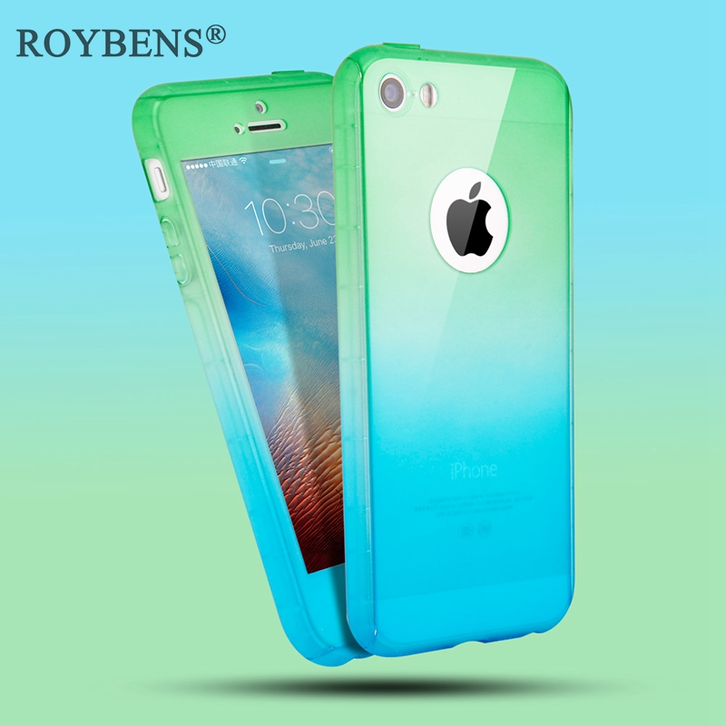 best loved 58e37 9a401 Roybens Gradient Color 360 Full Body Coverage Case For iPhone 5 5S SE 6 6S  Plus Mat Hard PC Cover For iPhone 7 Plus Luxury Case-in Fitted Cases from  ...
