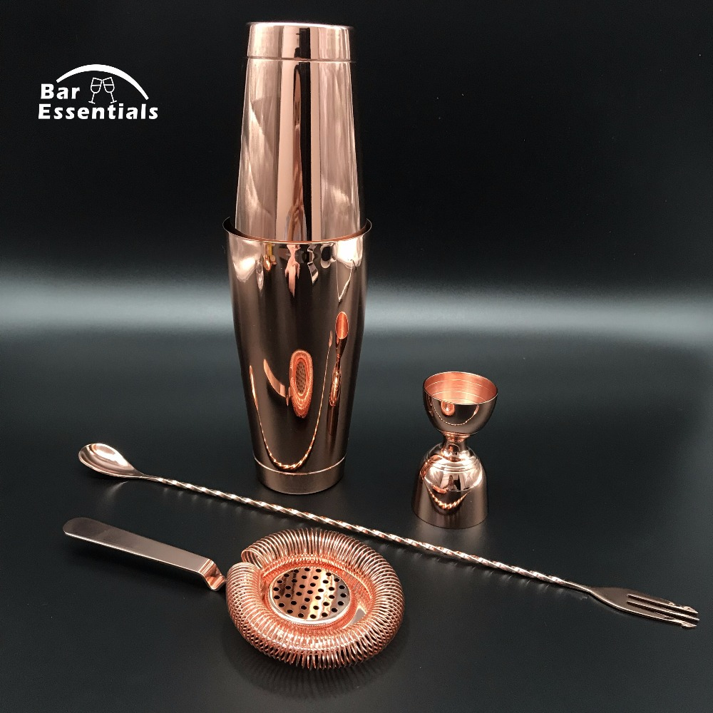 Cocktail Shaker Bar Set With Double Measuring Jigger and Mixing Spoon Tin On Tin Cocktail Shaker
