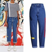 Vintage High Waist Jeans For Woman Mom Boyfriend Ribbon Red Jeans Femme Push Up Ladies Winter
