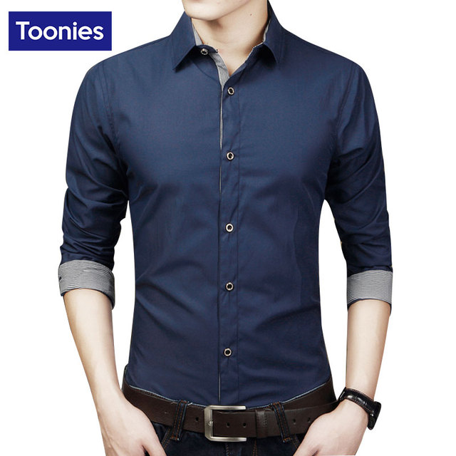 Plus Size Shirt Spring Office Camisa Masculina Long Sleeve Men's Shirts Famous Brand Social Tee Shirt Fashion Chemise Homme Tops