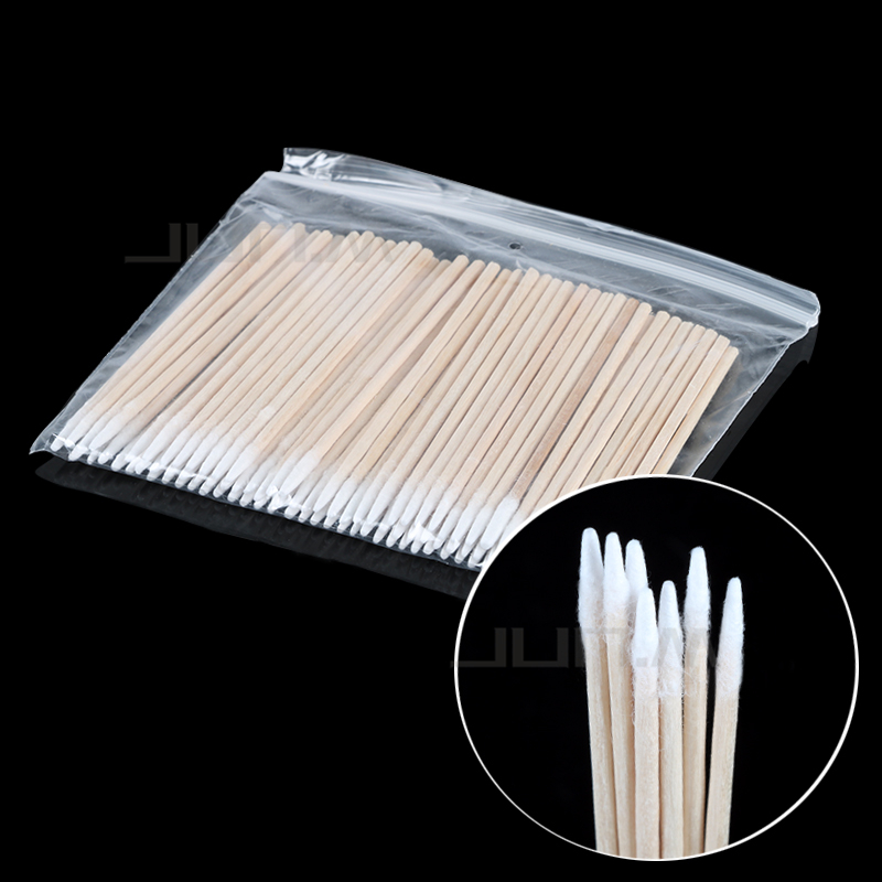 200pcs Wood Cotton Swab Cosmetics Permanent Makeup Microblading Ear Clean Sticks Buds Tip Wood Cotton Head Swab