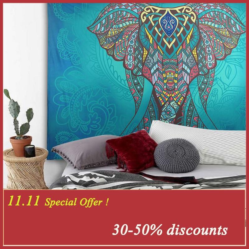 Éléphant Tapisserie de Couleur Imprimé Décoratif Mandala Tapisserie Indien 130 cm x 150 cm 210x150 cm Boho Mur Tapis