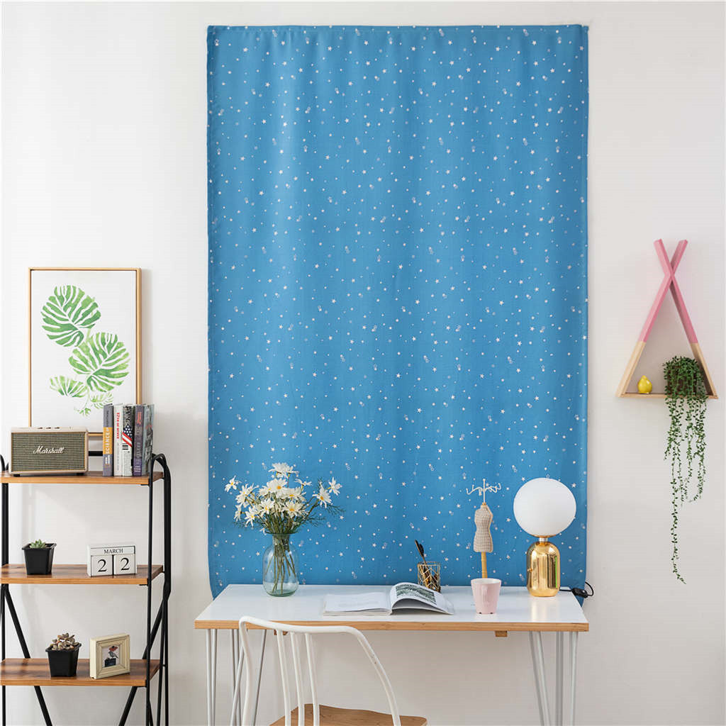 Blackout Simple Sky Blue Stars Velcro Window Curtain Double Face Polyester Curtains Full Size Home Office Cafe Durable Curtain