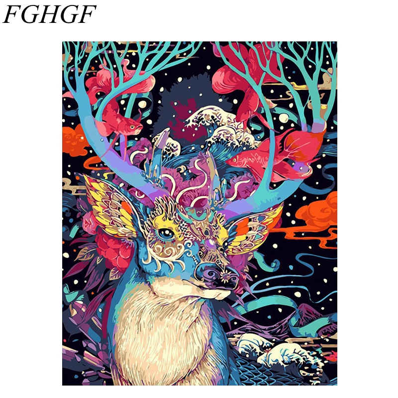 FGHGF Colorful Deer Frameless Picture Painting By Numbers Home Decor DIY Coloring By Numbers On Canvas Fashion