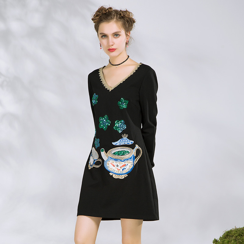 f305aeb21 Paillettes Robes Droite Robe Longues Taille Femmes Aofuli 2018 xxxl ...