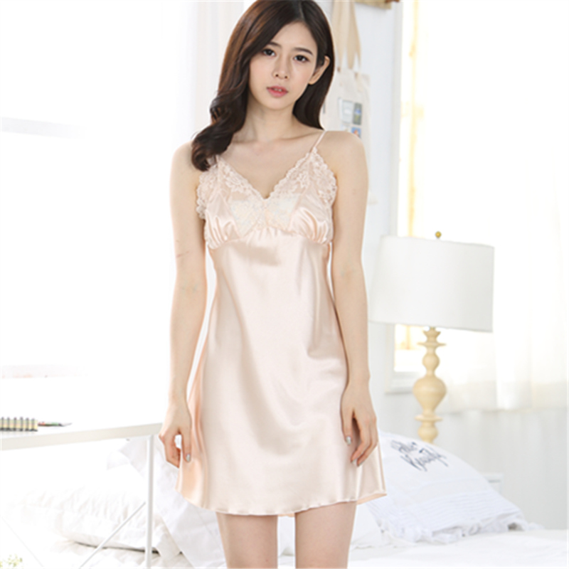 Summer short-sleeved ice silk sexy nightdress female large size ladies sling summer