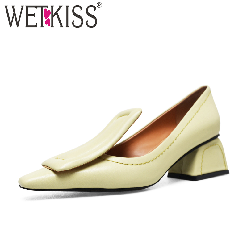 WETKISS High Heels Genuine Leather Women Pumps Square Toe Square Button Strange Style Footwear New Spring Fashion Ladies Shoes wetkiss 2018 spring women shoes patent cow leather pumps woman zipper square toe thick high heels shoes female elegant footwear