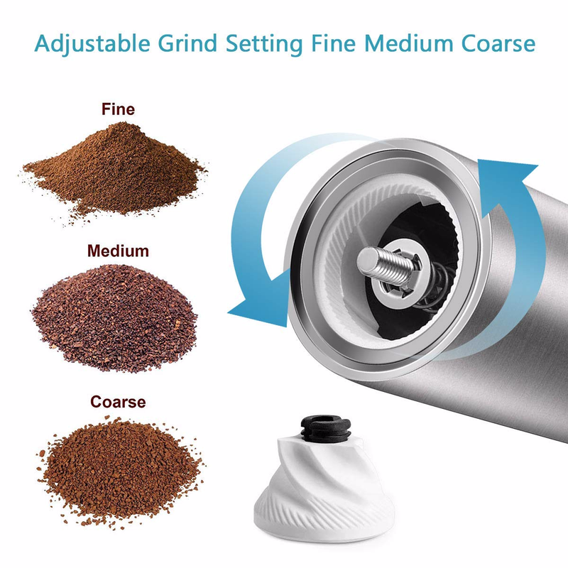 Image 4 - Manual Coffee Grinder, Stainless Steel Coffee Mill with Adjustable Ceramic Conical Burr, Ideal for Home, Office, Travelling-in Manual Coffee Grinders from Home & Garden