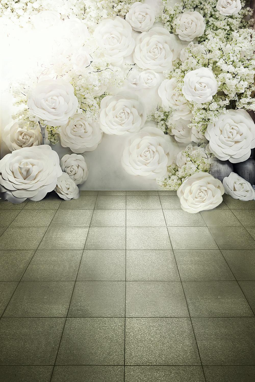 Digital Printed 3d White Roses Background For Photo Studio Romantic