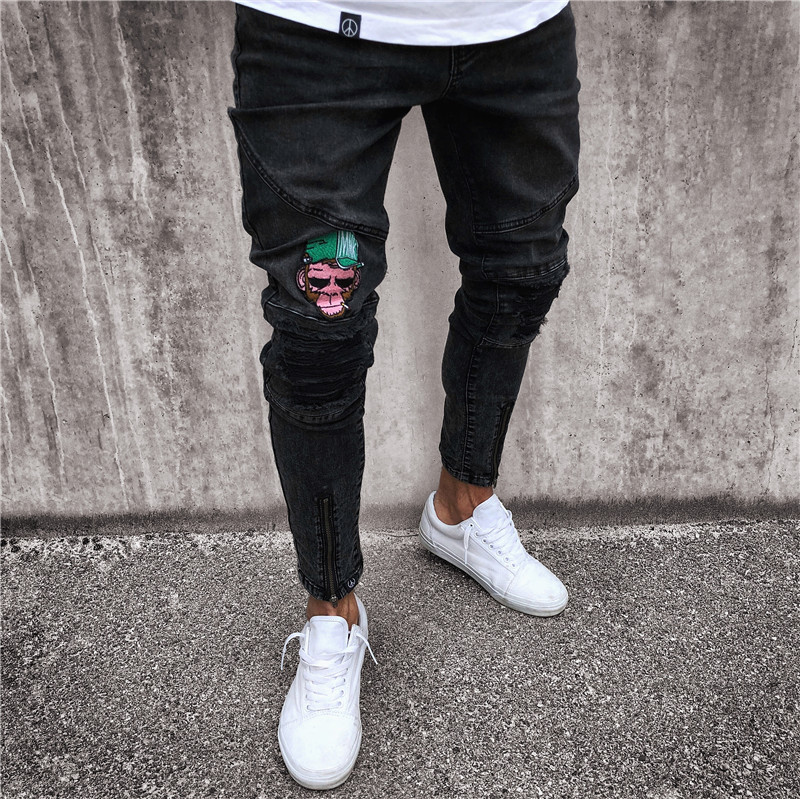 2018 Men Hip Hop Jeans Hole Cowboy Causal Slim Zipper Fashion Denim Joggers Men Pants Moletom Masculino Plus Size S~4XL