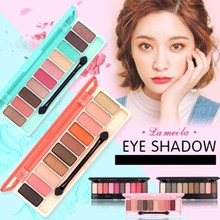 NOVO 10Color Fashion Eyeshadow Palette Matte EyeShadow Glitter Dumb Lasting Coloration Waterproof Eye Shadow Nude MakeUp