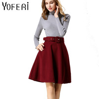 YOFEAI 2018 Women Skirt Fashion Autumn Winter Wool Skirt For Women High Waist Casual Warm Knee-Length Ladies Office Skirt 1
