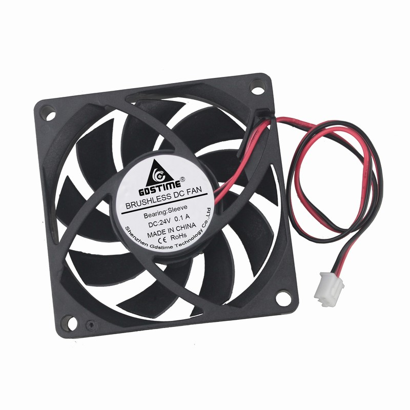 Gdstime 200 Pcs 2Pin 7cm 70mm x 15mm 7015 DC Brushless Cooling Fan 24V Black Computer