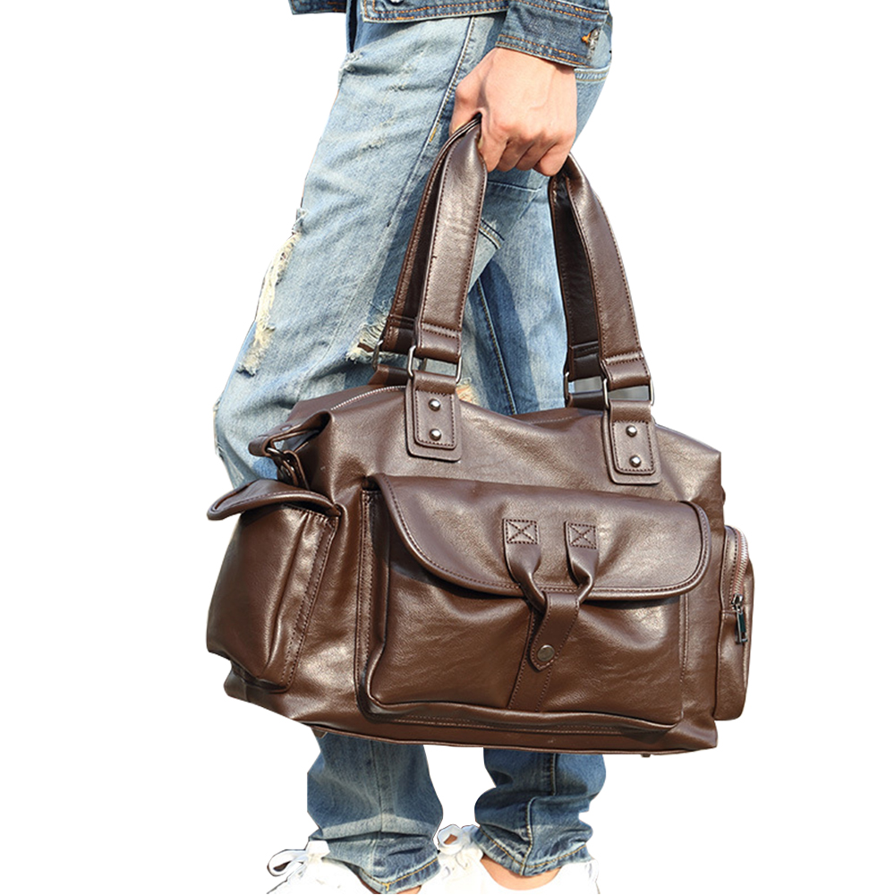 Designer Handbag High Quality Pu Leather Men Portable Travel Messenger Bag Male Soft Casual Tote Bags Vintage Solid high quality casual men bag