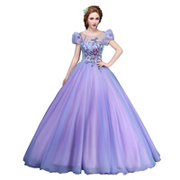 Prom Dresses 2018 Long Prom Gown Sweetheart Short Sleeve Ball Gown For Women Crepe Purple Floral Print Plus Size Party Dresses