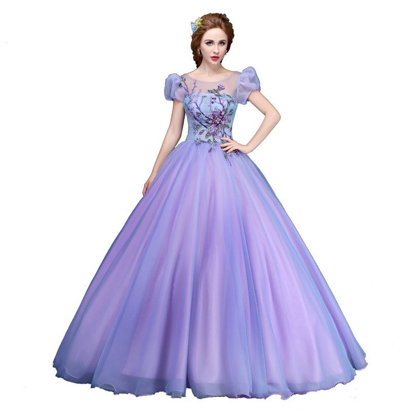 Prom Dresses 2018 Long Prom Gown Sweetheart Short Sleeve Ball Gown