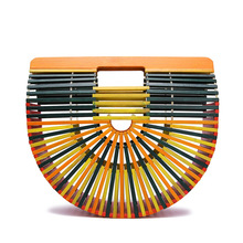 2019 womens bag continuously empty pure handmade beach grass patchwork ins super hot European and American