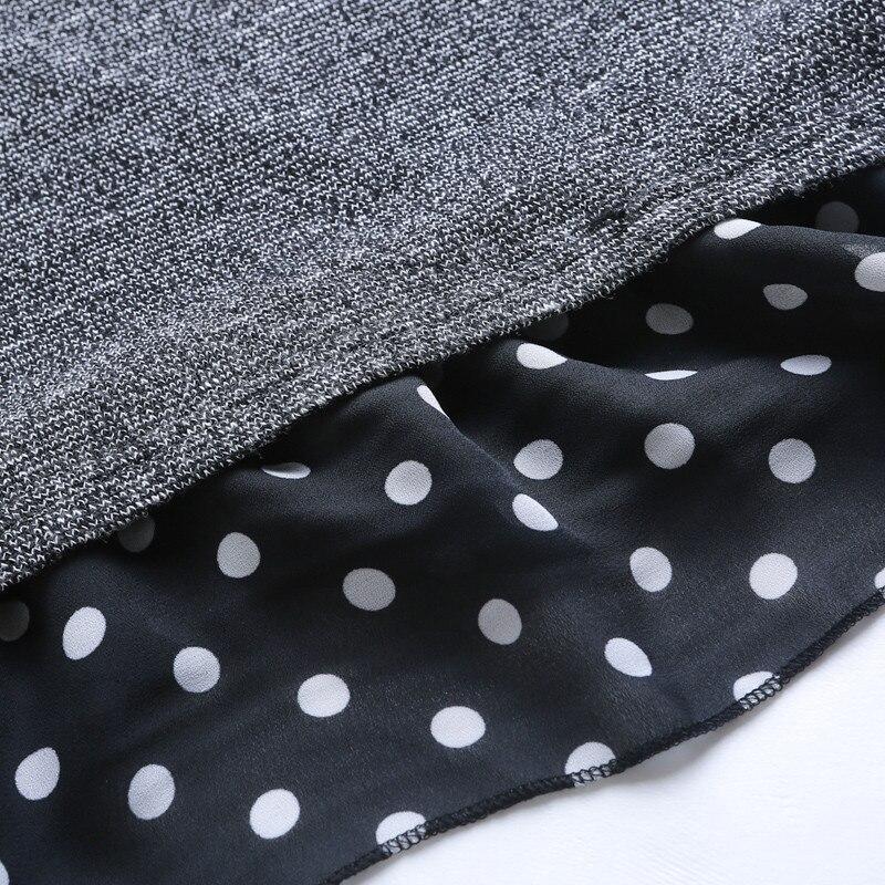 2018 printemps automne grande taille femmes lâche Point imprimer hauts femme à manches longues col de chemise T-shirt femmes gris fond 161 - 6
