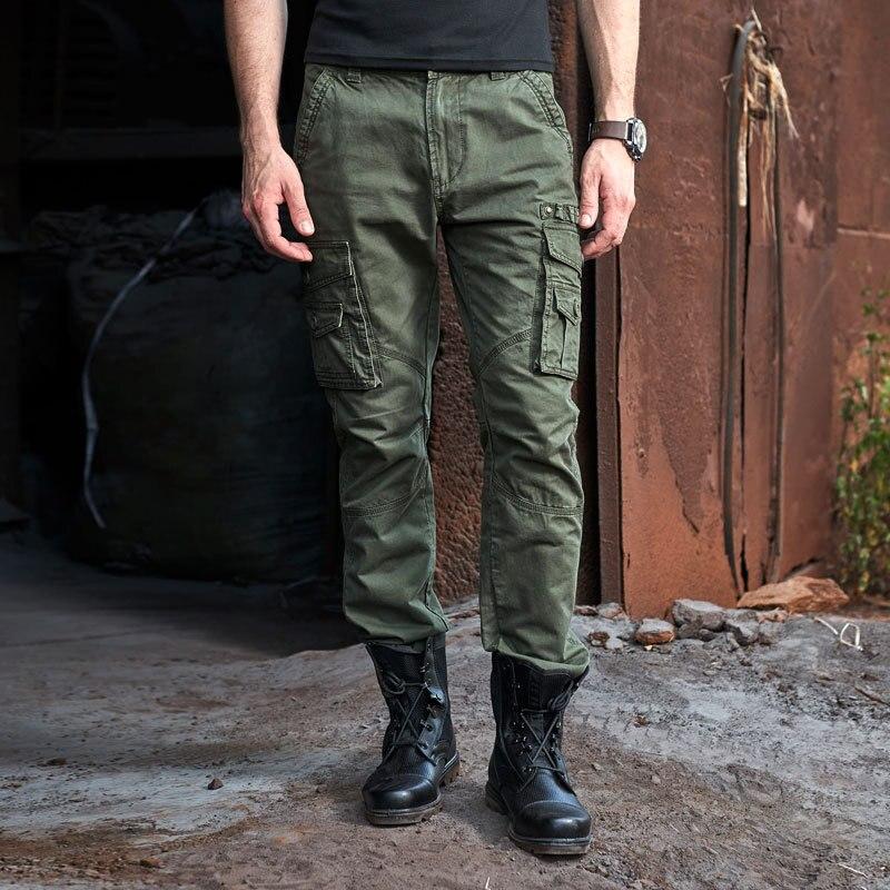 Мода Чистый Хлопок Отличное Качество Военные Брюки Свободные Мульти Карманы Мужские Брюки-Карго