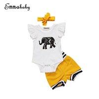 0-18M Kids Baby girl Clothes Cotton Elephant Print Tops Romper Shorts Pants Bottoms Outfits Set 3pcs