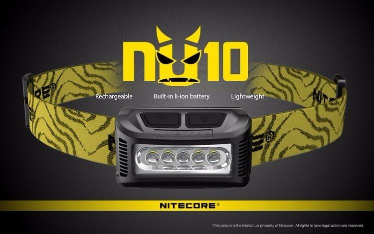 Lampe frontale de travail Nitecore NU10 Rechargeable USB de nouveauté avec éclairage large