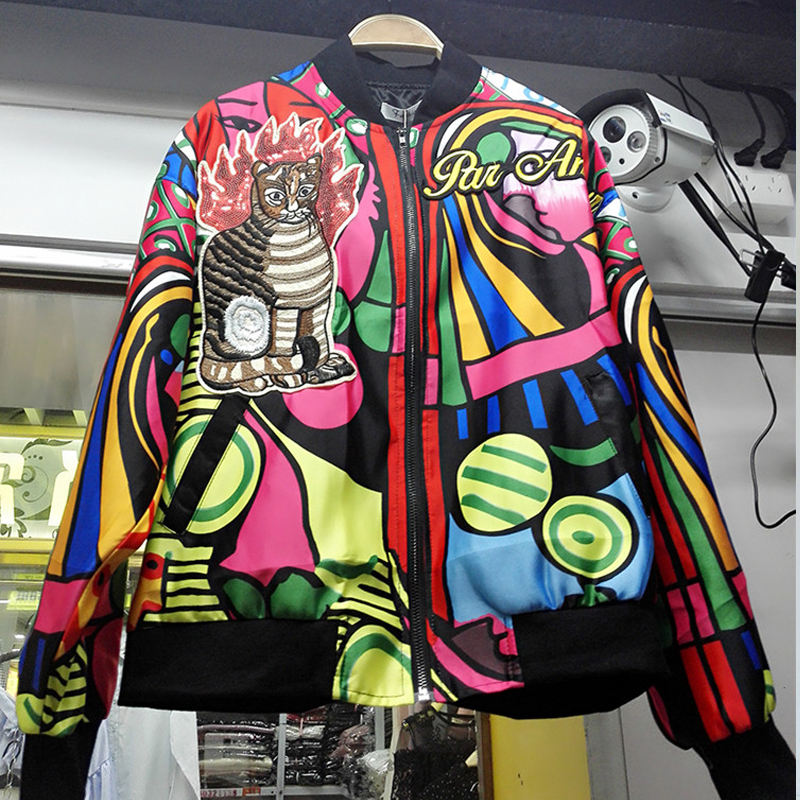 2017 Autumn 3D Flower Embroidery Satin Bomber Jacket Women Jacket Coat Female Outerwear Basic Jackets
