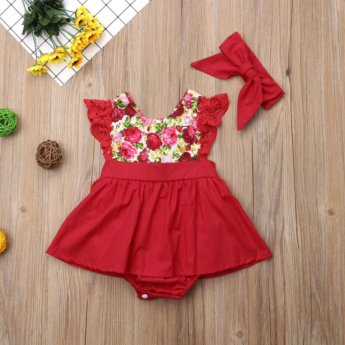 05e1eadf9 Pudcoco niño niña vestido 2018 nueva manga de encaje flor fósforo de ...