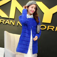 2016 new winter long in mink cashmere coat thick Plush mink hair sweater cardigan female