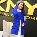 2016 nuevo invierno largo en gruesa Felpa de visón de pelo de visón abrigo de cachemira chaqueta de punto femenino