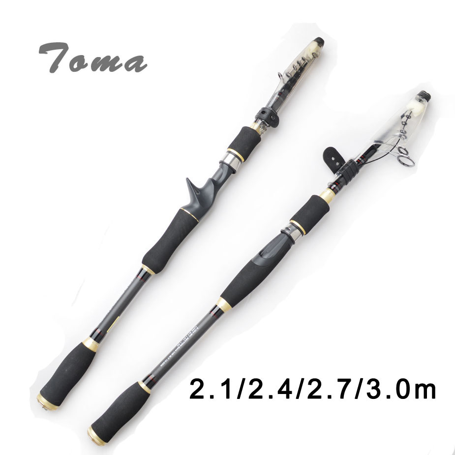 Casting Fishing Rod 2.1m 2.4m 2.7m 3.0m MH Hard Carbon Fiber Rods Spinning Fishing Telescopic Travel Fishing Rod Lure Tackle