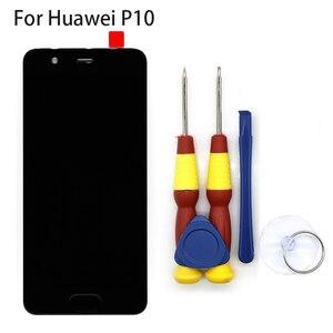 Image 1 - Новый оригинальный сенсорный экран, ЖК дисплей, ЖК экран для Huawei P10, сменные детали + инструмент для разборки + клей 3M