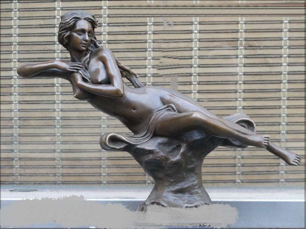 "12""Western Bronze & Marble ART Sculpture magical balance sit woman belle statue"