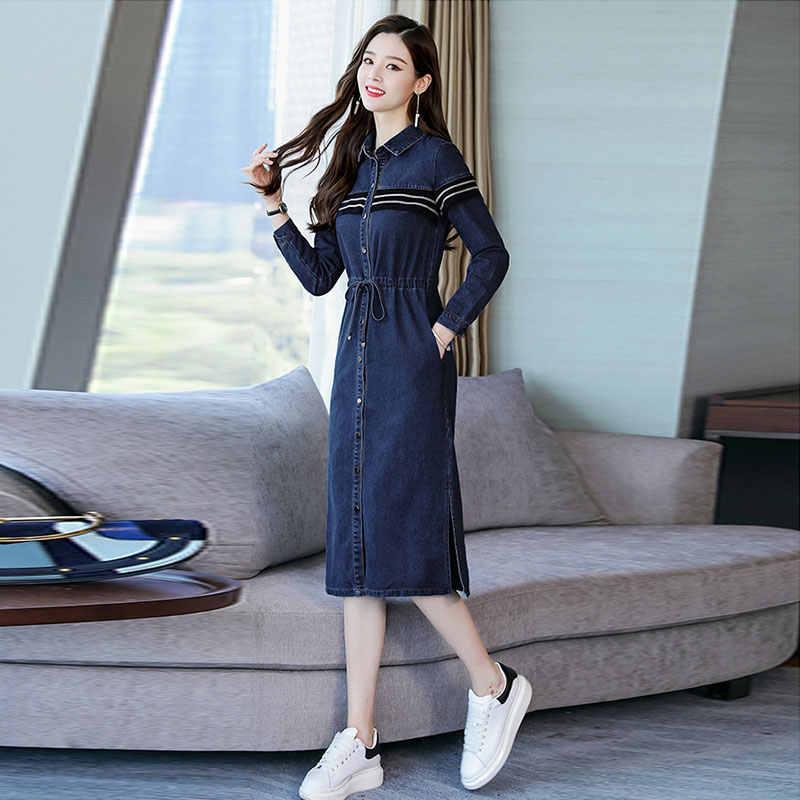 בינוני ארוך שמלת ג 'ינס אישה קיץ אביב סתיו ג' ינס שמלה קיצית שמלת 2019 ארוך שרוול חולצה בגדי נשים Vestidos T583