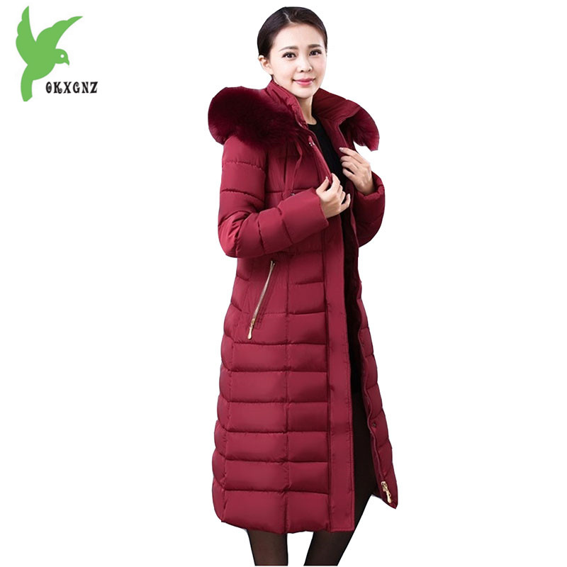 New Middle-aged Female Winter Down cotton Jacket Coats Long style Parkas Thick Warm Jackets Plus size Slim Outerwear OKXGNZ 1098