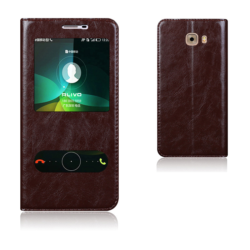 imágenes para Caso de la Cubierta Elegante de Cuero Genuino de Calidad superior Para Samsung Galaxy C9 Pro Bolso Del Teléfono Móvil de Lujo Del Soporte Del Tirón + Free regalo