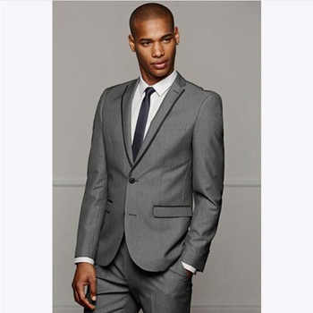 Slim Fit Grey Mens Suits Wedding Tuxedos Groom Suit Groosmen Wear Business Prom Party Suit (Jacket+Pant)