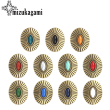 3pcs/lot Retro Zinc Alloy Oval Bronze CONCHO Decorative Buttons Charms Pendants For DIY Jewelry Accessories