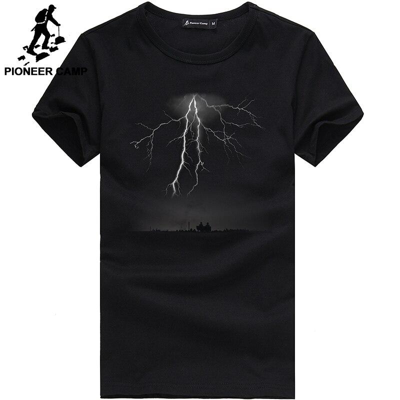 Pioneer Camp Lightning Printed tees Men Black T Shirt Fashion men  Casual brand Clothing Cotton T-shirt 405043