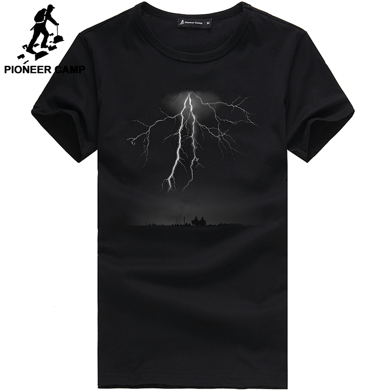Pioneer Camp Lightning Printed Tees Males Black T Shirt Males Vogue Males Informal Model Clothes Cotton T-Shirt 405043