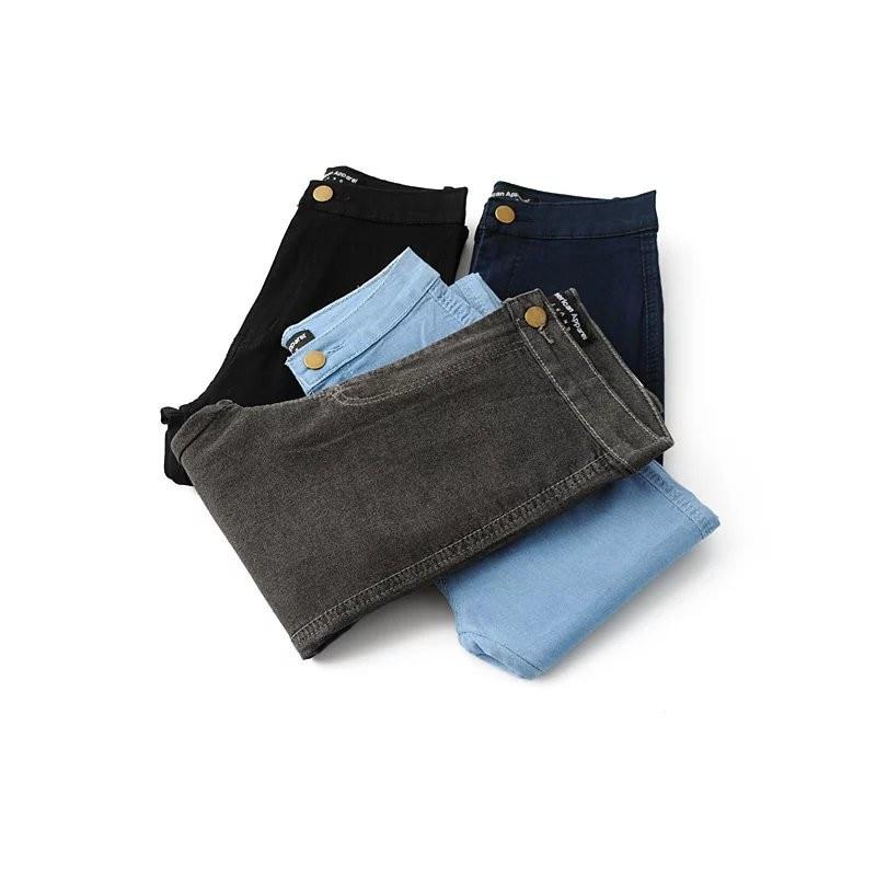 High Waist High Elastic   Jeans   Women Hot Sale American Style Skinny Pencil Denim Pants Trousers Fashion Vaqueros Mujer Black grey