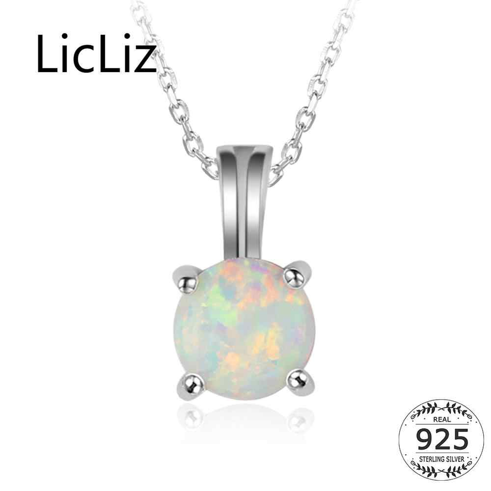 LicLiz 925 Sterling Silver Fire Opal Necklace For Women Round Gemstone Solitaire Necklace Pendants Drop Chains Necklaces LN0250