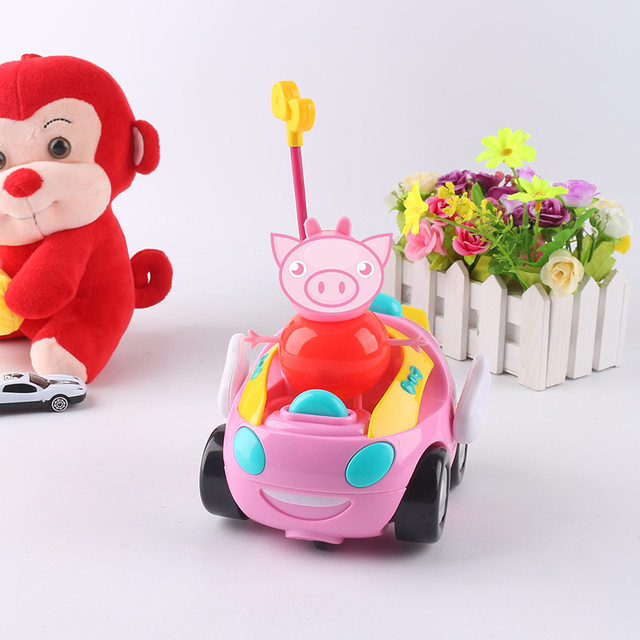 cartoon doraemon hello kitty pink pig remote control electric toys car kids rc car cartoon musical light children boys girls toy