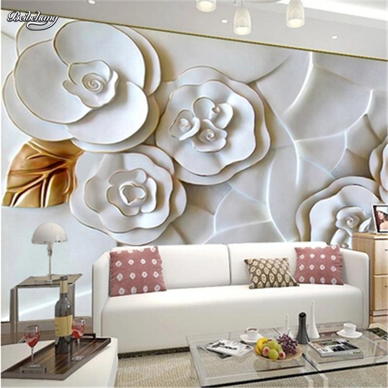 Купить с кэшбэком beibehang Custom photo wallpaper embossed wall paper painting modern minimalist living room TV  white roses wallpaper 3d