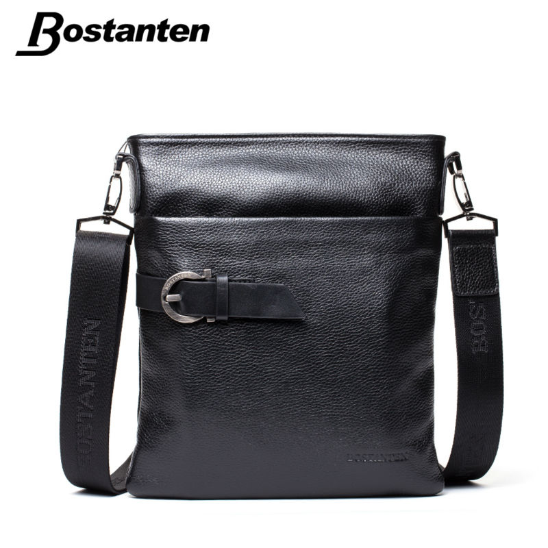 BOSTANTEN Small Vintage Men Messenger Bags Famous Brand 2017 Crossbody Casual Bag Genuine Leather Bag Mens Shoulder Bag Laptop стоимость